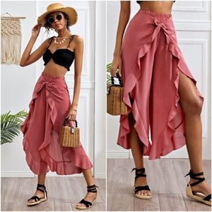 Ruffle boho elastic waist front split pink pants